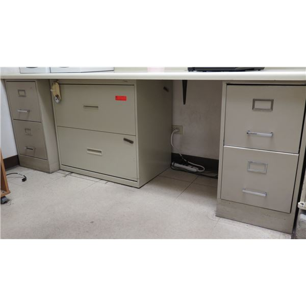 Qty 3 Metal File Cabinet (Long Countertop Not Included)