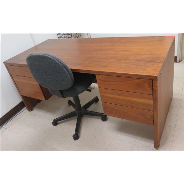 "Hiebert Wooden Desk w/ 5 Drawers 66""x30""x29""H & Rolling Office Chair"