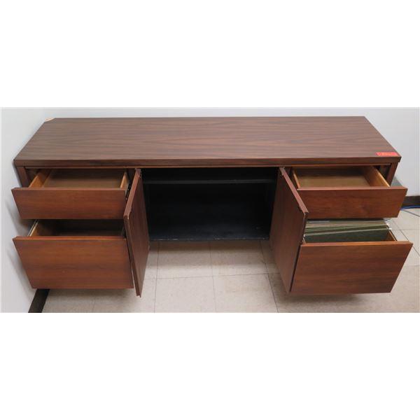 """Wooden Cabinet w/ Center 2-Door Storage & 4 Drawers 66""""x17""""x29""""H"""