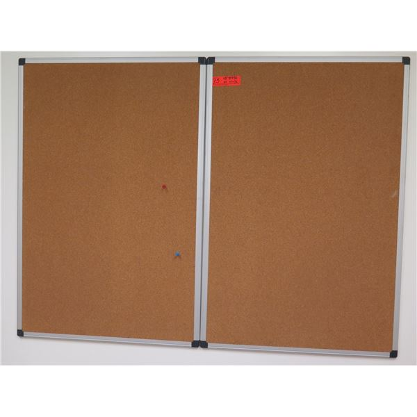 "Qty 3 Aluminum Framed Corkboards 24""x36"""