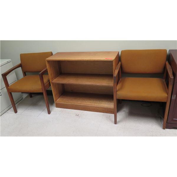 Wooden 2-Tier Shelving Unit & 2 Hiebert Receptions Chairs