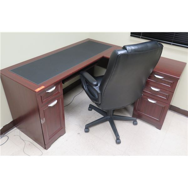 """Wooden """"L"""" Shape Desk w/ 5 Drawers 59""""x59""""x30""""H & Office Chair"""