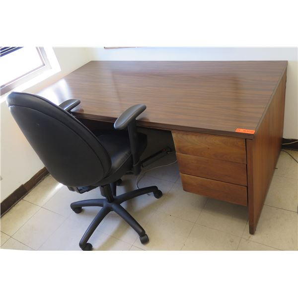 """Wooden Desk w/ 3 Drawers 72""""x36""""x29""""H & Office Chair"""