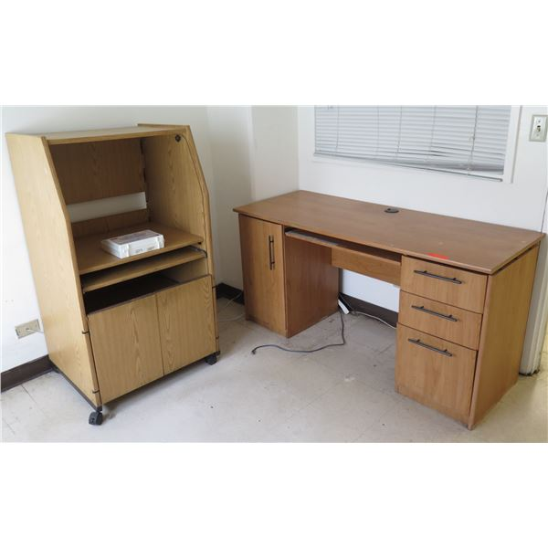 """Wooden Desk w/ Under Cabinet & 3 Drawers 60""""x23""""x30""""H & Rolling Shelving Unit 51""""H"""
