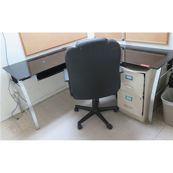 "Plexiglas ""L"" Shape Desk, Metal 2-Drawer File Cabinet & Office Chair"