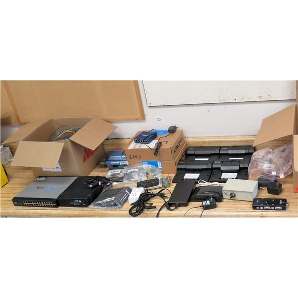 Linksys SR224 Switch, DAT72 Digital Data Storage, Compact USB Adapter, Cables, etc