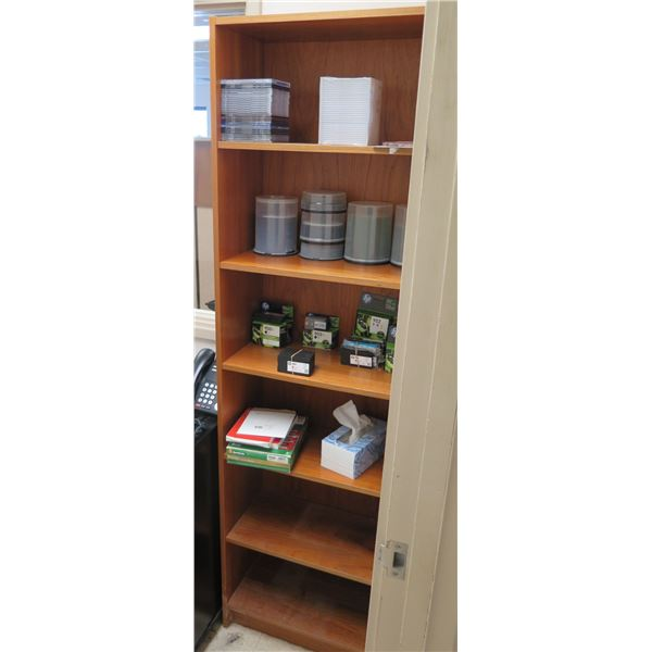 """Wooden 6-Tier Bookcase 24""""x13""""x76"""" (contents not included)"""