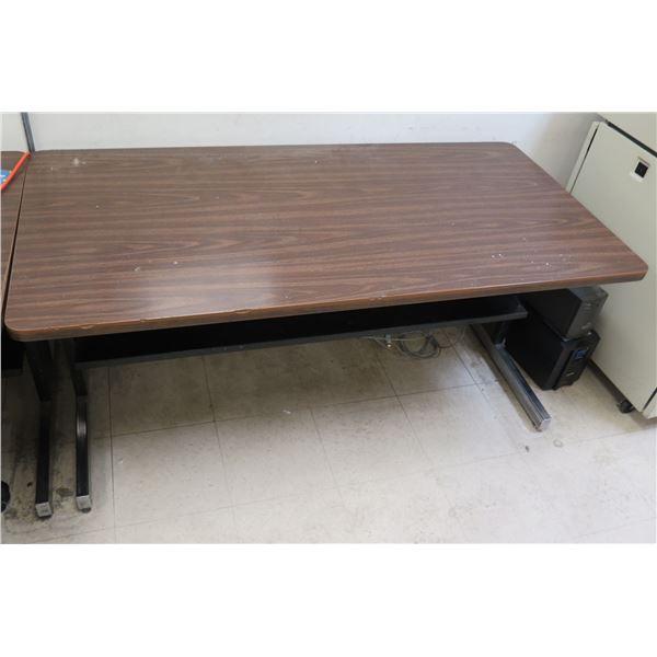"Metal & Wood Laminate Table w/ Undershelf 60""x30""x27""H"