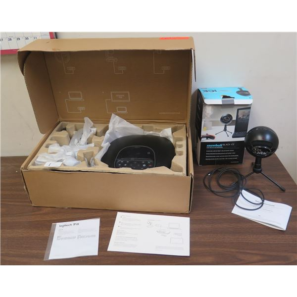Logitech V-U0036 Conferencing System in Box & Snowball Black Ice USB Microphone