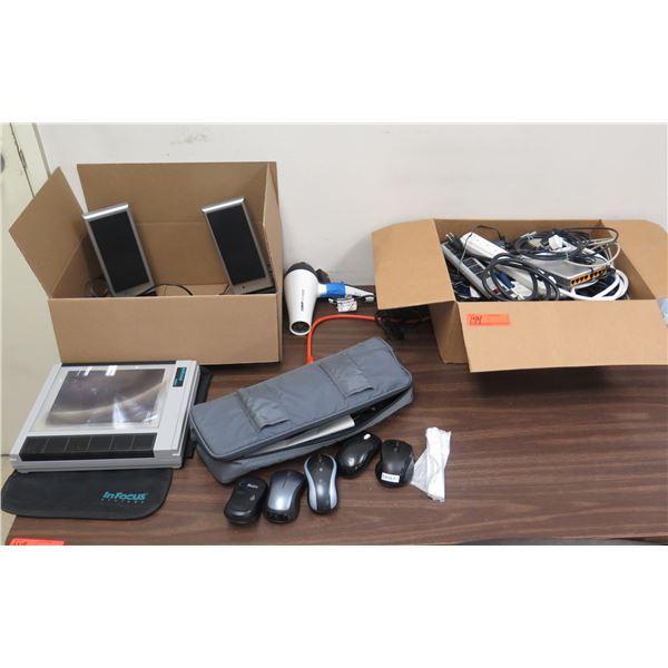 InFocus PanelBook 450 Projector, 2 Altec Lansing Speakers, Dryer, Cords,  Mouse, etc