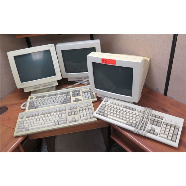 Qty 3 Wyse Computer Monitors w/ 3 Wyse & Dell Keyboards