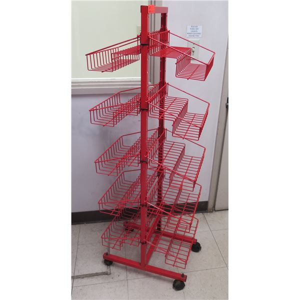 "Red Wire 10 Basket Rolling Storage Display 20""x13""x56""H"