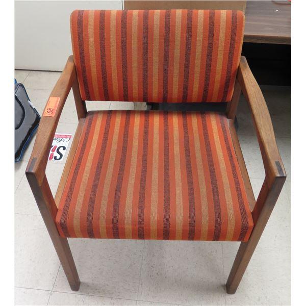 Wooden Hiebert Armchair w/ Orange Seat & Back Cushions