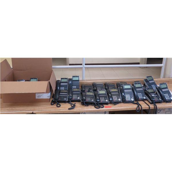 Multiple NEC DT300 Series Black Display Office Phones