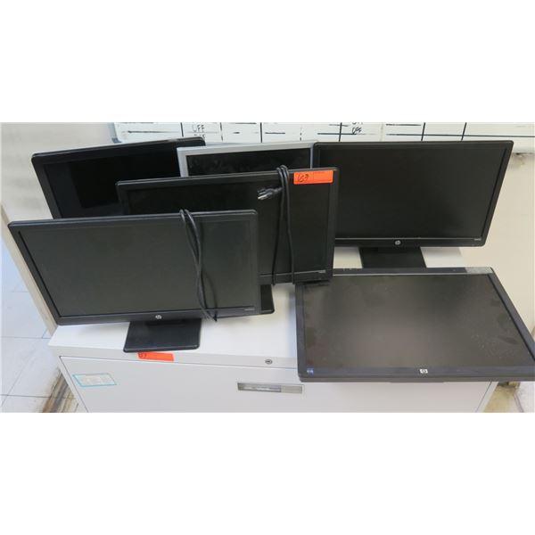 Qty 5 HP Flat Screen Monitors