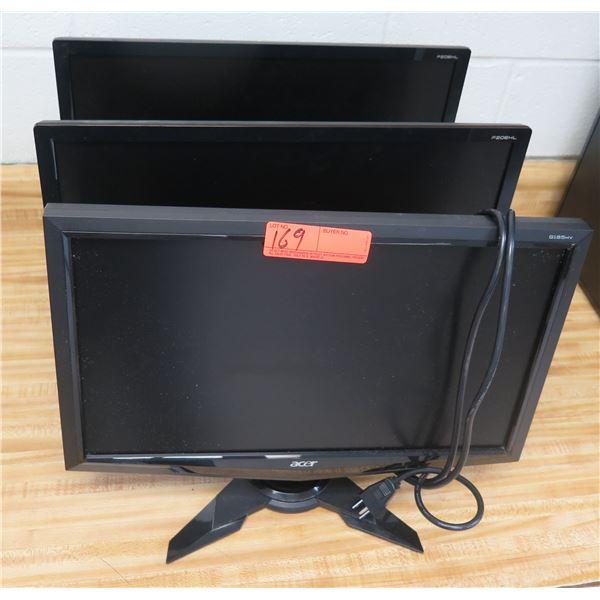 Qty 3 ACER Flat Screen LCD Monitors