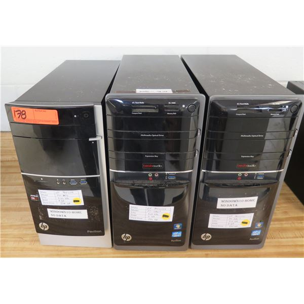 Qty 3 HP Pavilion Tower Computers (Windows 10 Home No Data)