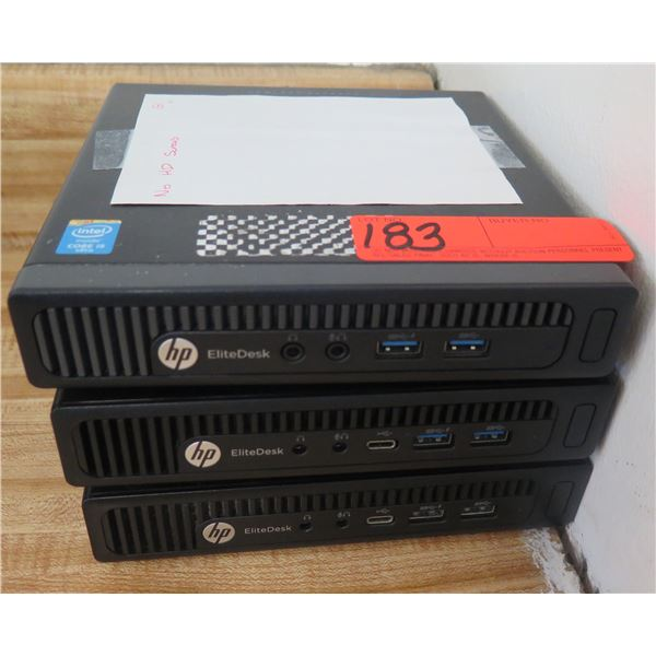 Qty 3 HP EliteDesk 800 G1 / TPC-P055-DM / 800 G2 Mini Computers