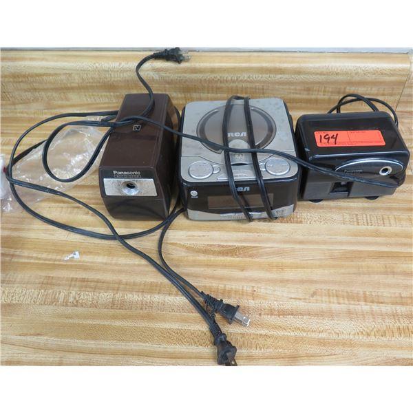 Qty 2 Panasonic Electric Pencil Sharpeners & RCA RP4801A Clock Radio