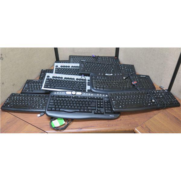 Qty 11 Computer Keyboards: Logitech, Micro Innovations, Microsoft, etc