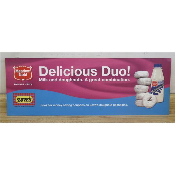 "Love's Doughnuts & Meadow Gold Milk Duo Sign 33""x12"""