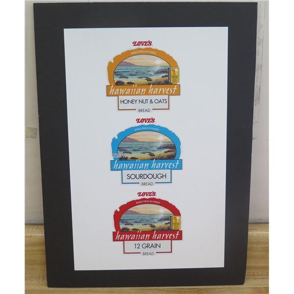 """Framed Love's Bread Art: Honey Nut, Sourdough & 12 Grain 15""""x20"""""""