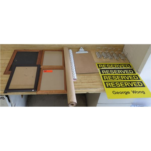 Qty 4 Frames, Multiple Clipboards, 'Reserved' Signs & Rolled Paper