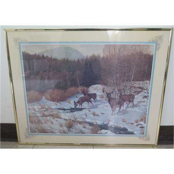 """Framed Art - Winter Scene w/ Deer, Signed Charles Murphy '82 (28""""x22"""")"""