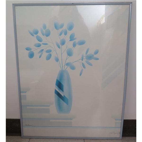 """Framed Art - Vase & Flowers, Signed by Artist Tudor Mironesco 28""""x22"""""""