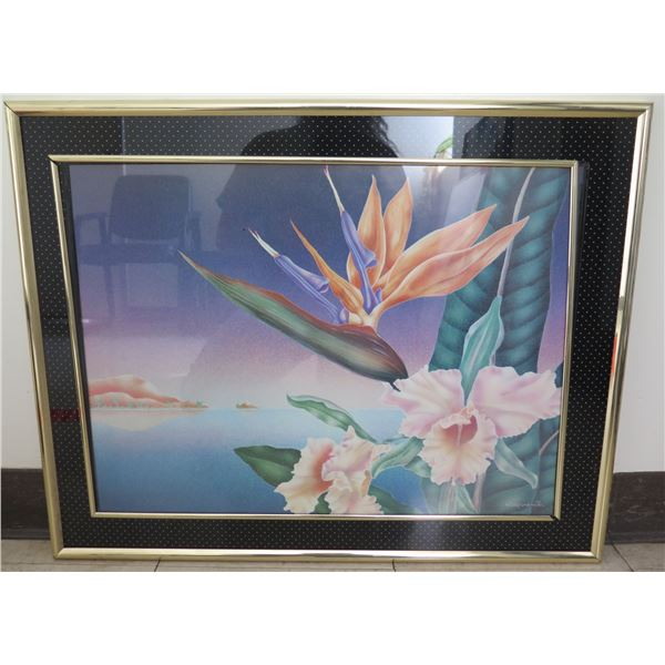 """Framed Art - Bird of Paradise & Orchids, Signed Cooper Smith 28""""x22"""""""