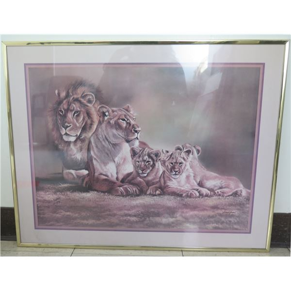"""Framed Art - Lions & Cubs, Signed Tony Gifford 28""""x22"""""""