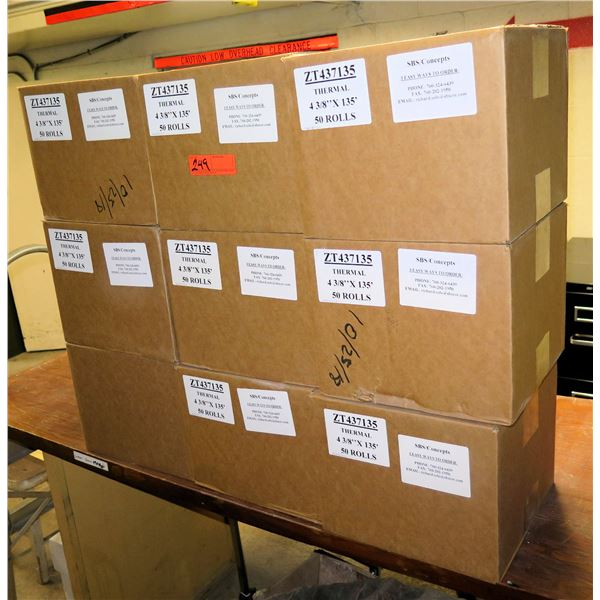 "Qty 9 Boxes ZT437135 Thermal Paper 4-3/8""x135' (50 Rolls per Box)"