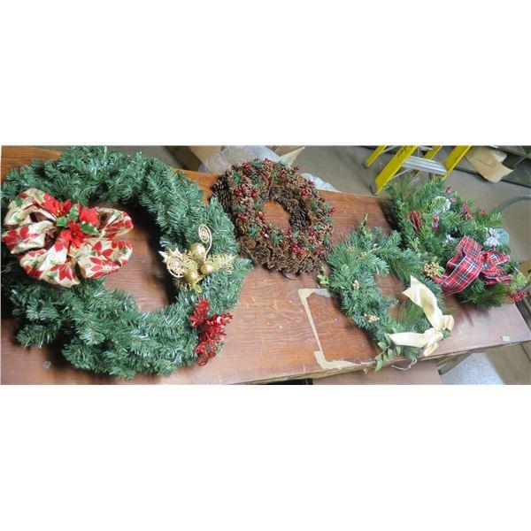 Qty 4 Decorative Christmas Wreaths, Misc Sizes