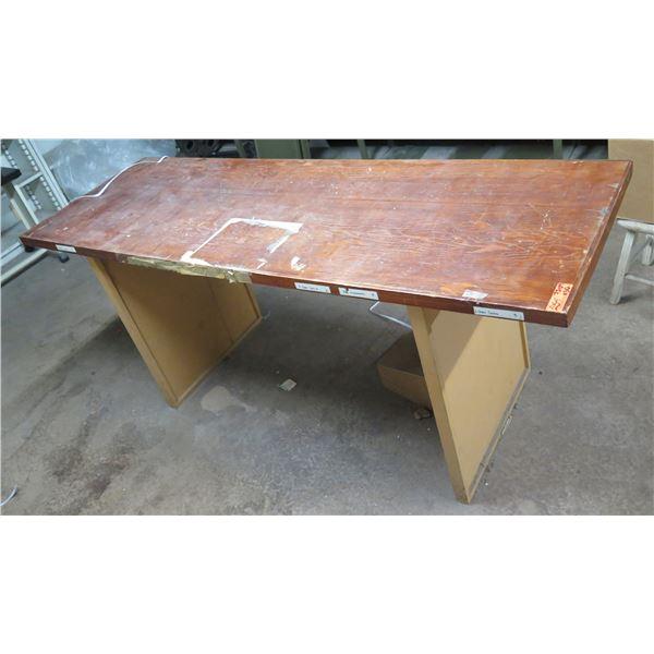 "Worktable w/ Wooden Top, Metal Base 72""x24""x30""H"