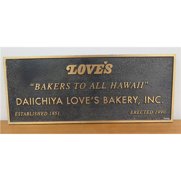 """Loves """"Baker's To All Hawaii"""" Plaque 30""""x12"""""""