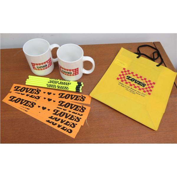 Qty 2 Love's Bakery Logo Mugs, Tote Bag, Bookmarks & Pencils