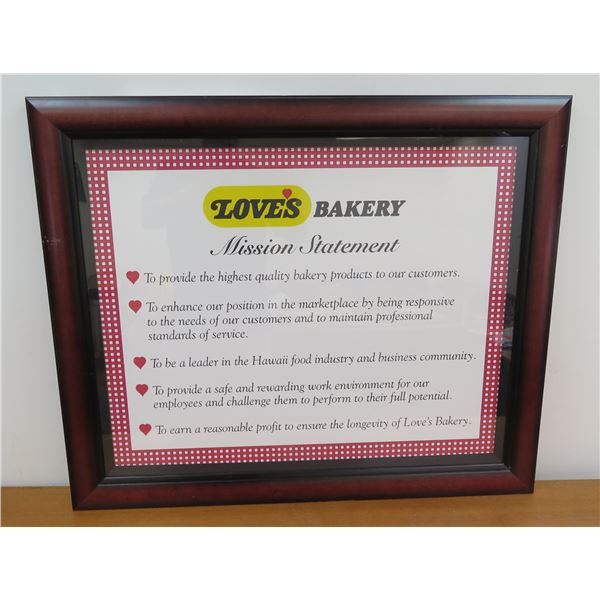 """Framed Love's Bakery Mission Statement 34""""x28"""""""