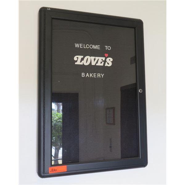 """Black """"Welcome to Love's Bakery' Glass Door Sign 23""""x33"""""""