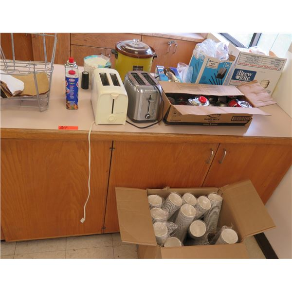Misc Kitchen: 2 Toasters, Crock Pot, Microwave Oven, Disposable Cups, Coffee Pot