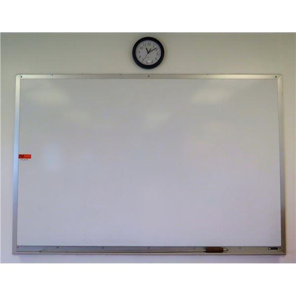"Claridge Framed Whiteboard 73""x47"" & Wall Clock"