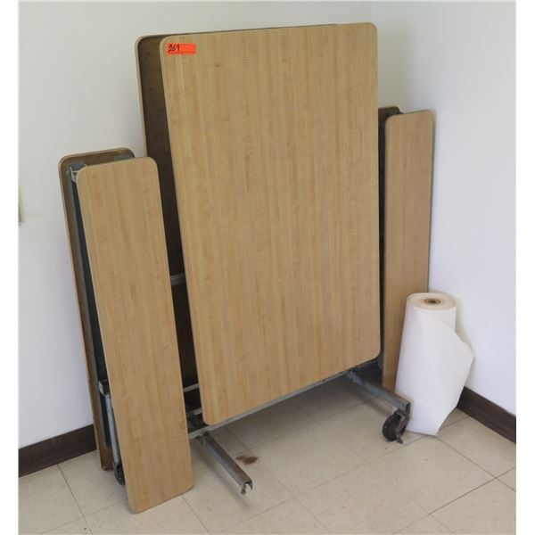 Folding Table w/ Attached Bench Seats & Roll Paper