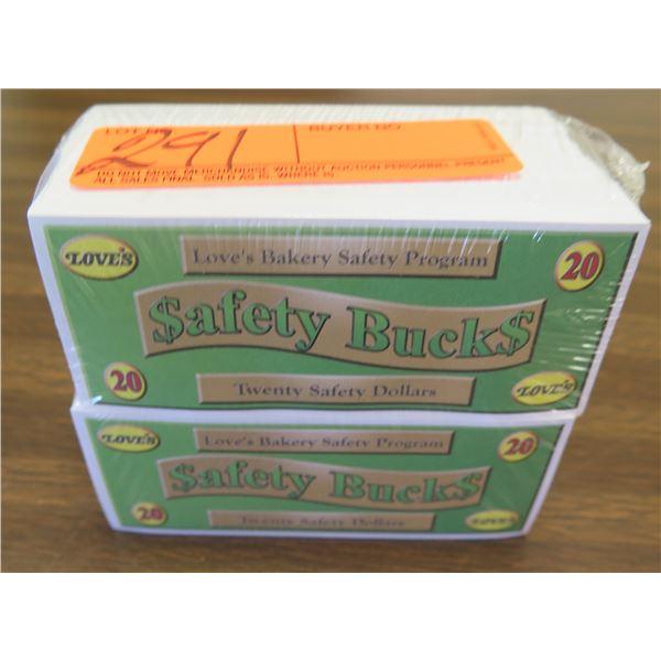 Qty 2 Packages Love's Safety Bucks - Twenty Safety Dollar Denomination