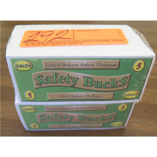 Qty 2 Packages Love's Safety Bucks - Five Safety Dollar Denomination