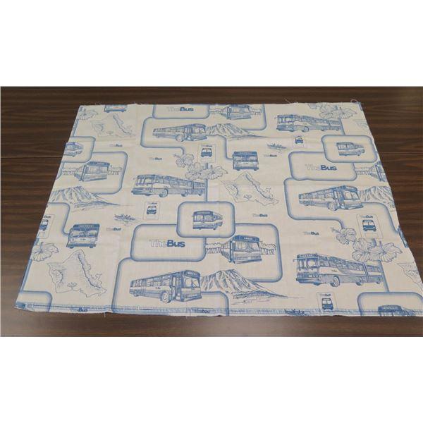 "Square Blue & White 'The Bus' Oahu w/ Hibiscus Design 43""x33"""