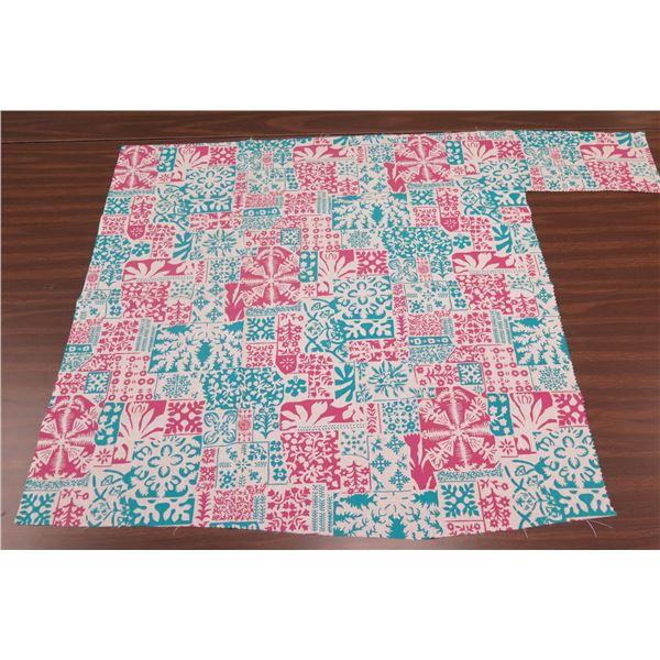"Square Red & Blue Floral Design 39""x32"""