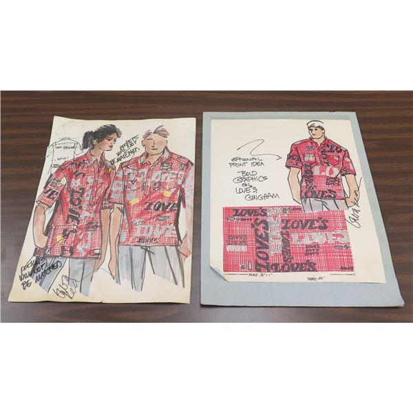 Love's Bakery Sketch - His & Hers Aloha Shirt Design
