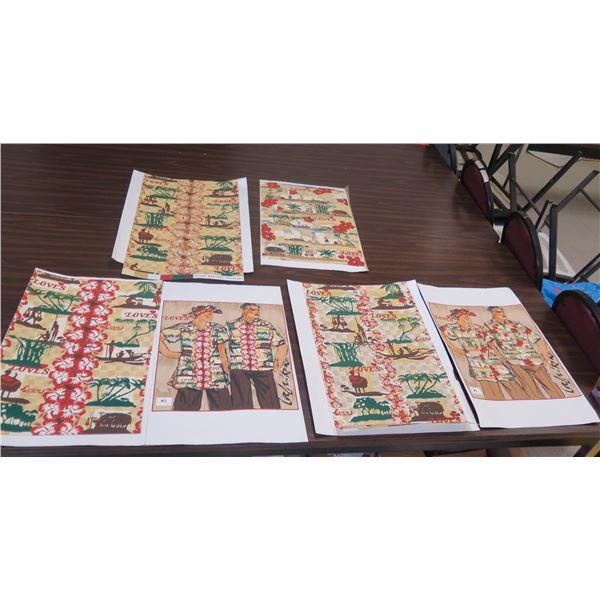 Qty 3 Love's Bakery Aloha Shirt Design w/ Print Ideas & Fabric Samples