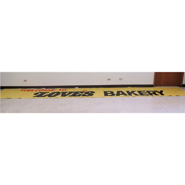 """Yellow 'Welcome to Love's Bakery' Banner 236""""x33"""""""