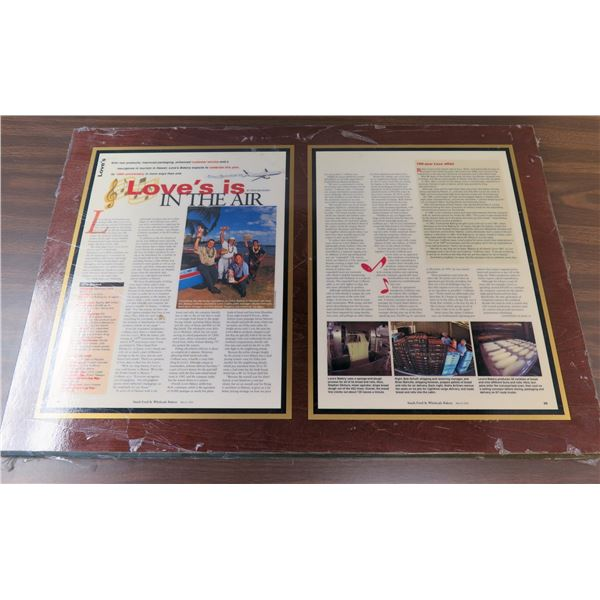 """Plaque 'Love's is in the Air' Article in Snack Food & Wholesale Bakery March 2001 21""""x18"""""""