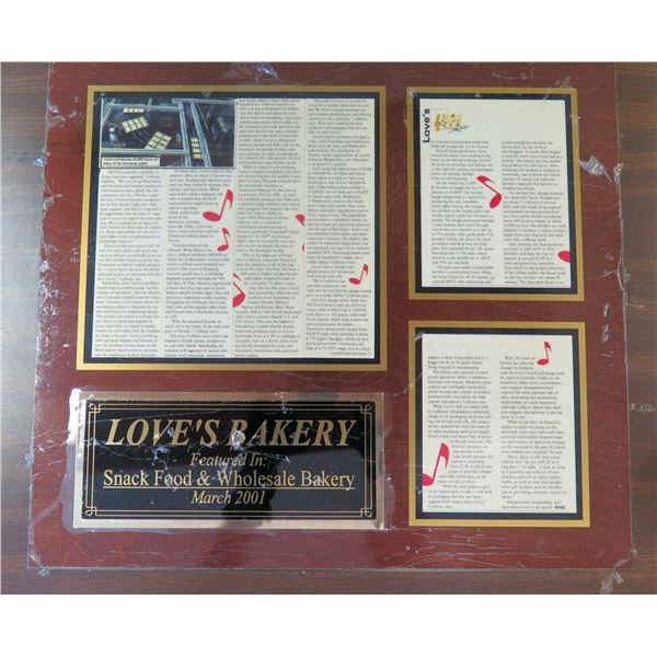 """Plaque 'Love's Bakery' Article in Snack Food & Wholesale Bakery March 2001 21""""x18"""""""